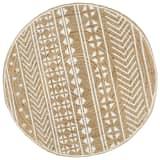 vidaXL Ръчно тъкан килим от юта, бял принт, 120 см