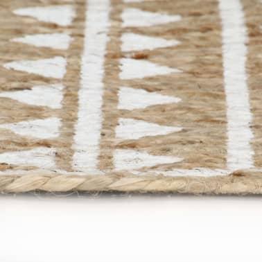 vidaXL Preproga iz jute z belim potiskom ročno izdelana 120 cm[3/5]