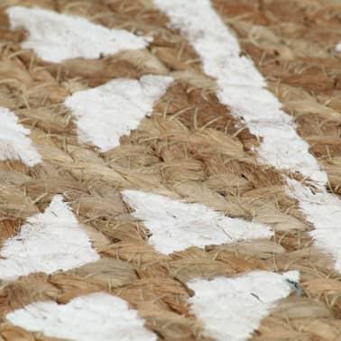 vidaXL Preproga iz jute z belim potiskom ročno izdelana 120 cm[5/5]