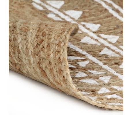 vidaXL Preproga iz jute z belim potiskom ročno izdelana 150 cm[2/5]