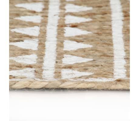 vidaXL Preproga iz jute z belim potiskom ročno izdelana 150 cm[3/5]