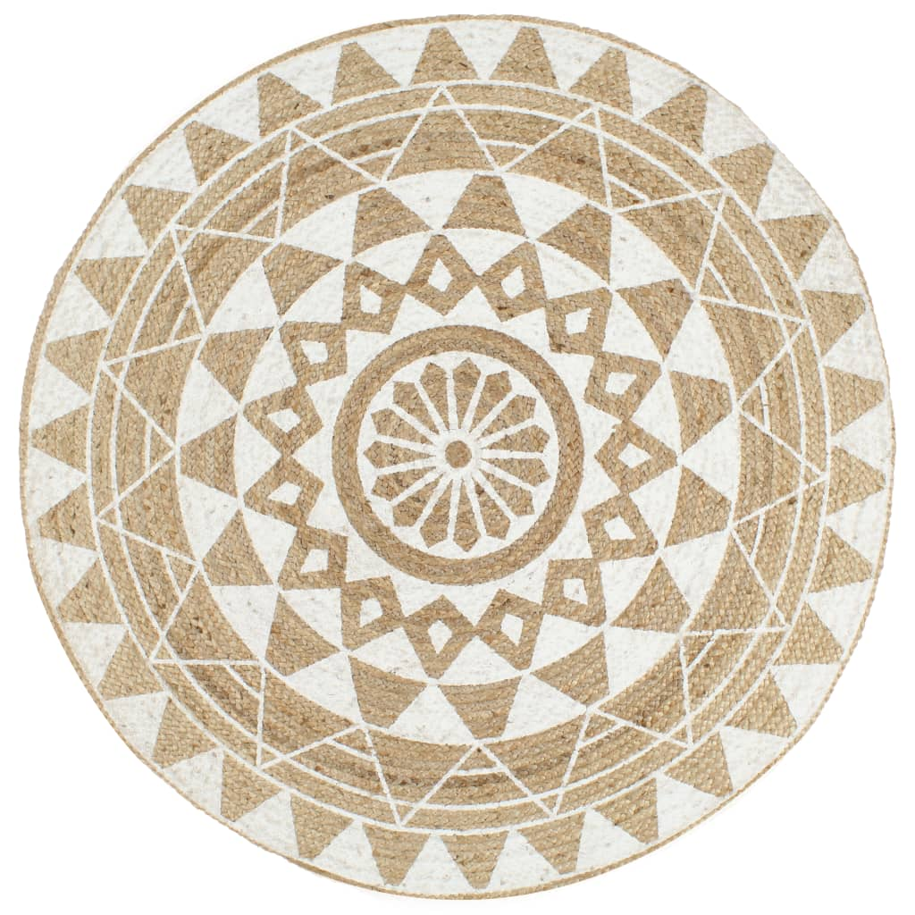 999133695 Teppich Handgefertigt Jute mit weißem Aufdruck 90 cm