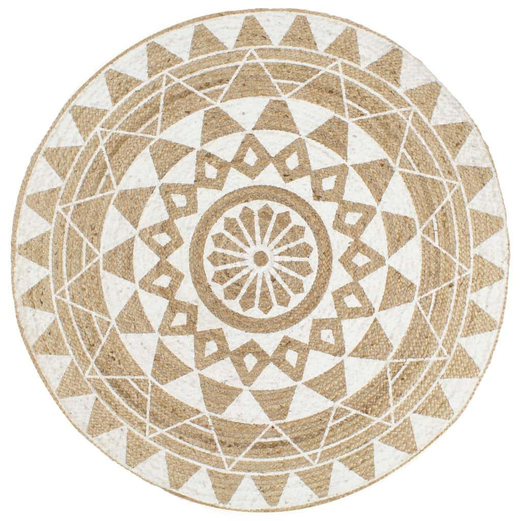 999133697 Teppich Handgefertigt Jute mit weißem Aufdruck 150 cm