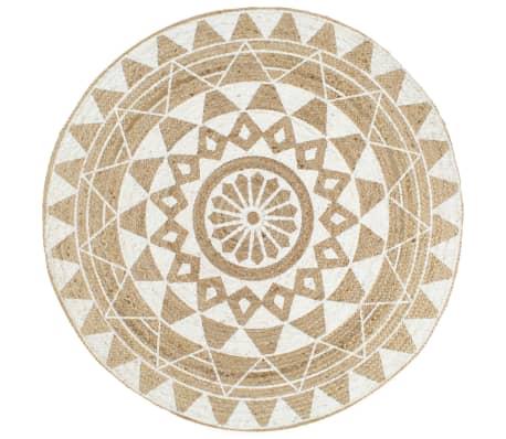 vidaXL Ръчно тъкан килим от юта, бял принт, 150 см