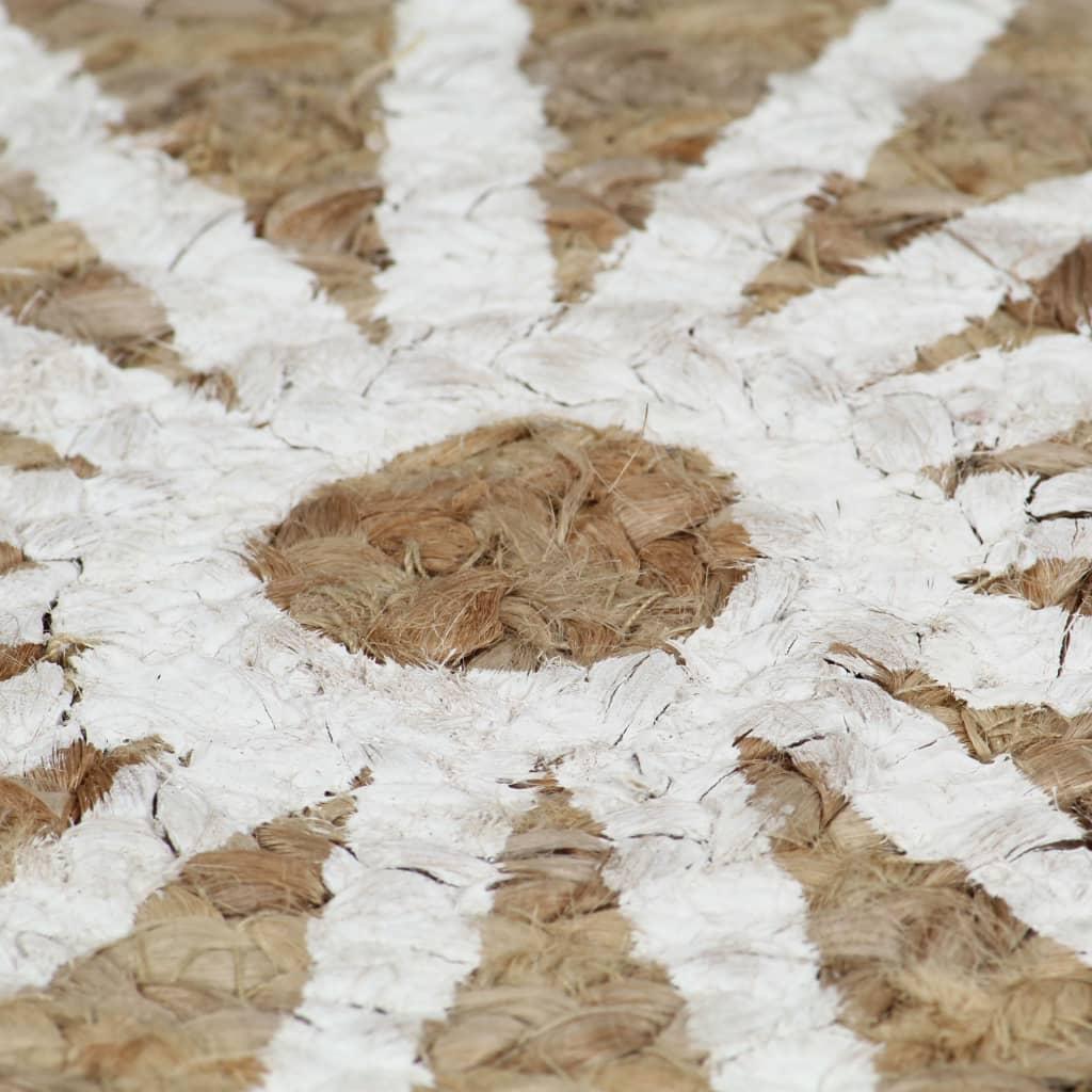 Vloerkleed handgemaakt met witte print 150 cm jute