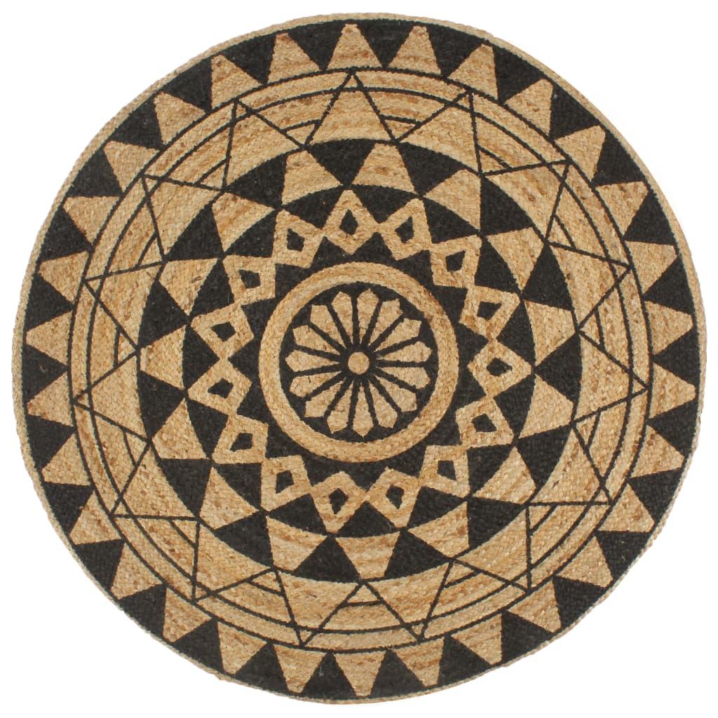 999133698 Teppich Handgefertigt Jute mit Schwarzem Aufdruck 90 cm