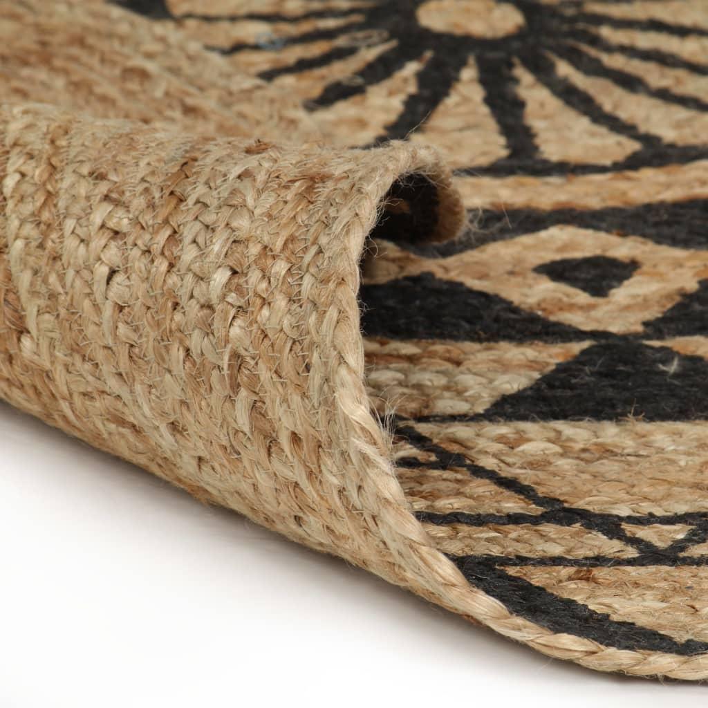 vidaXL Ručně vyrobený koberec z juty s černým potiskem 150 cm