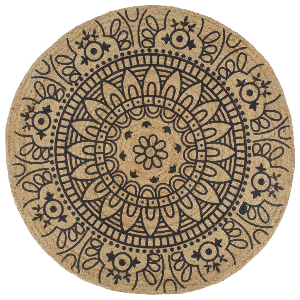 999133701 Teppich Handgefertigt Jute mit Dunkelblauem Aufdruck 90 cm