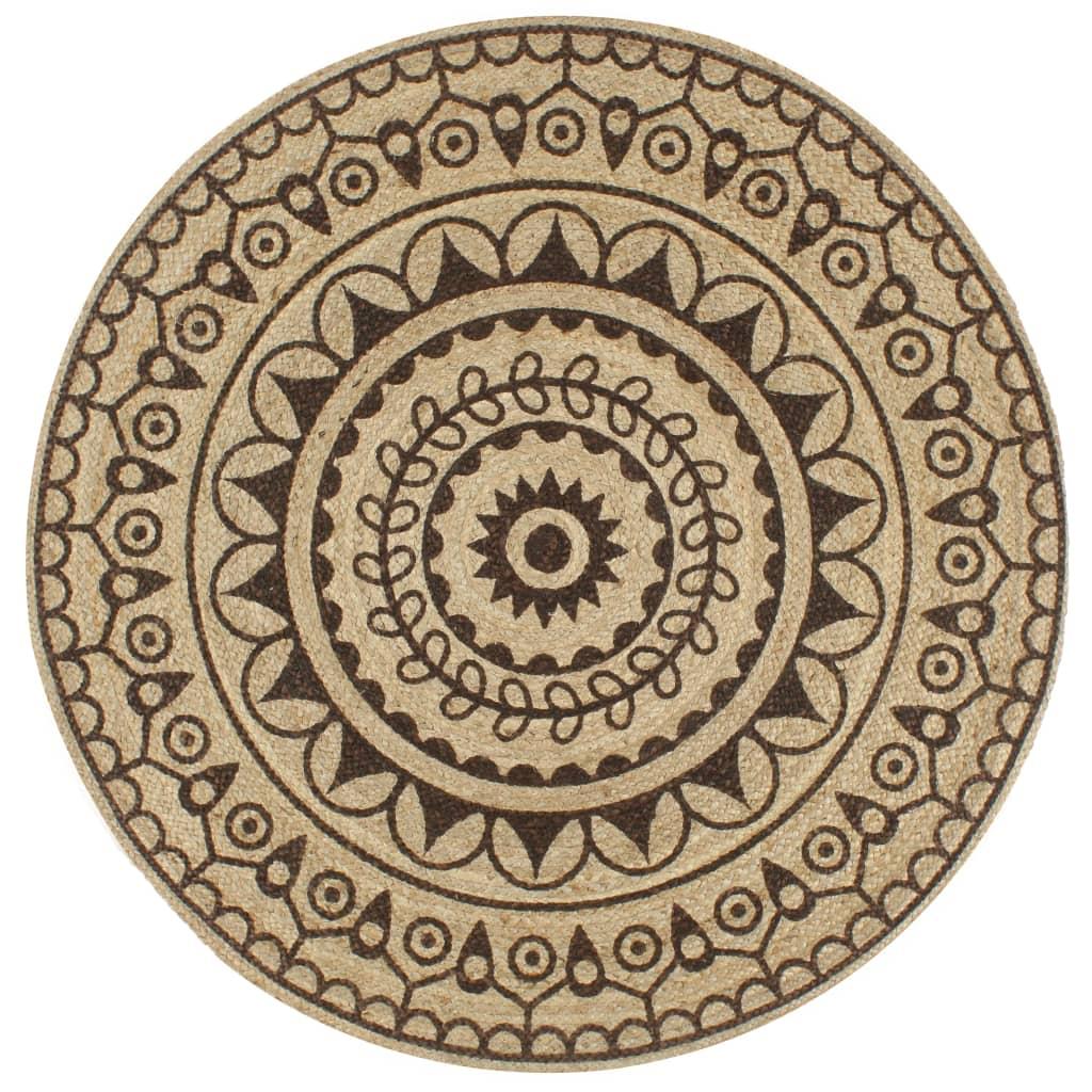 999133704 Teppich Handgefertigt Jute mit Dunkelbraunem Aufdruck 90 cm