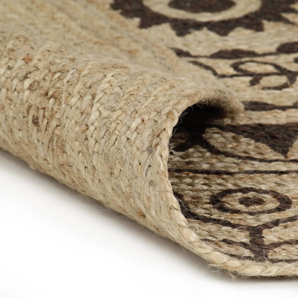 vidaXL Ručně vyrobený koberec z juty s tmavě hnědým potiskem 120 cm