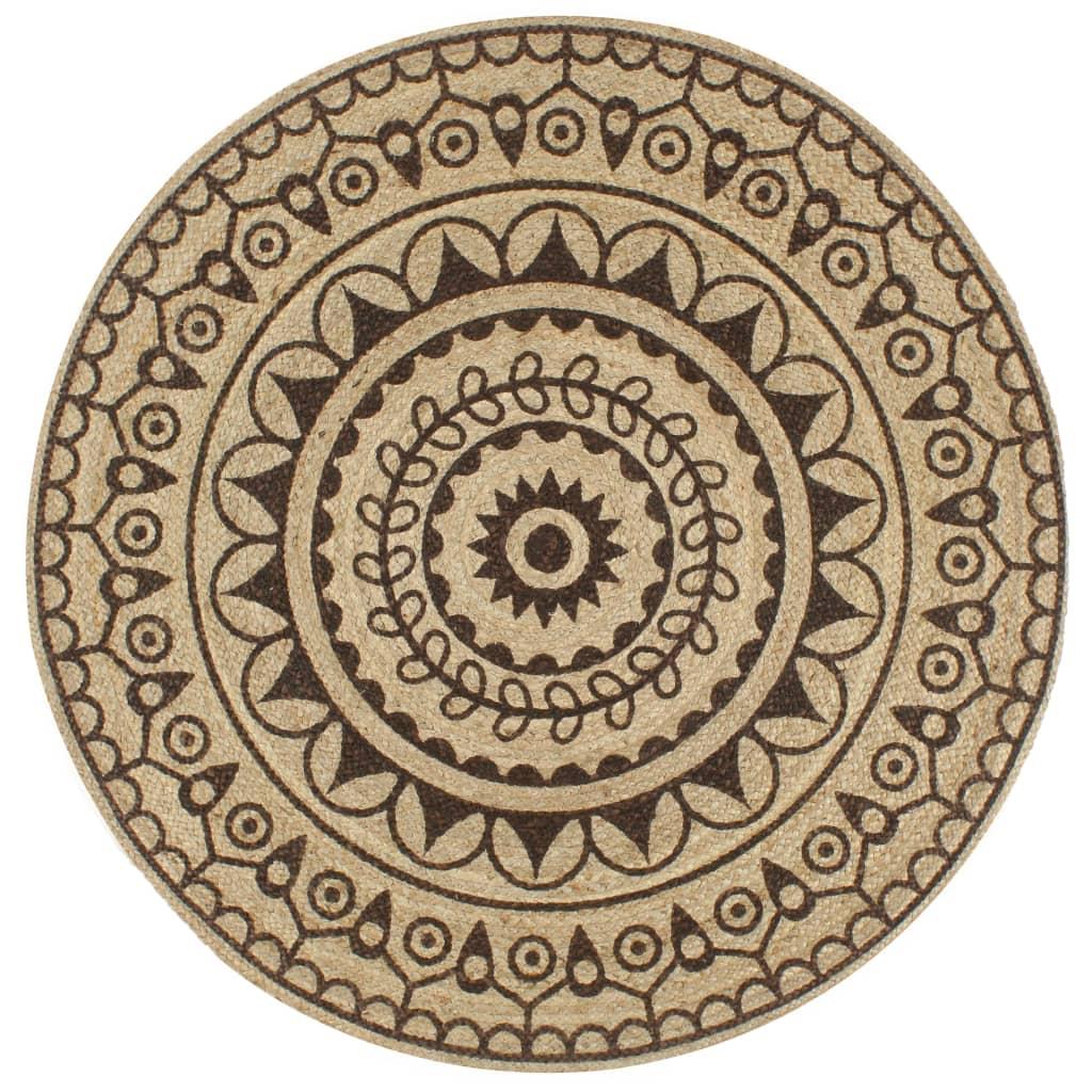 999133706 Teppich Handgefertigt Jute mit Dunkelbraunem Aufdruck 150 cm