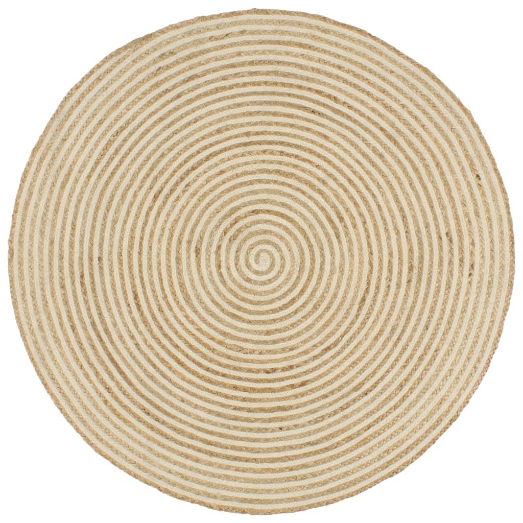 vidaXL Χαλί Χειροποίητο 120 εκ. από Γιούτα με Λευκό Σπιράλ Σχέδιο