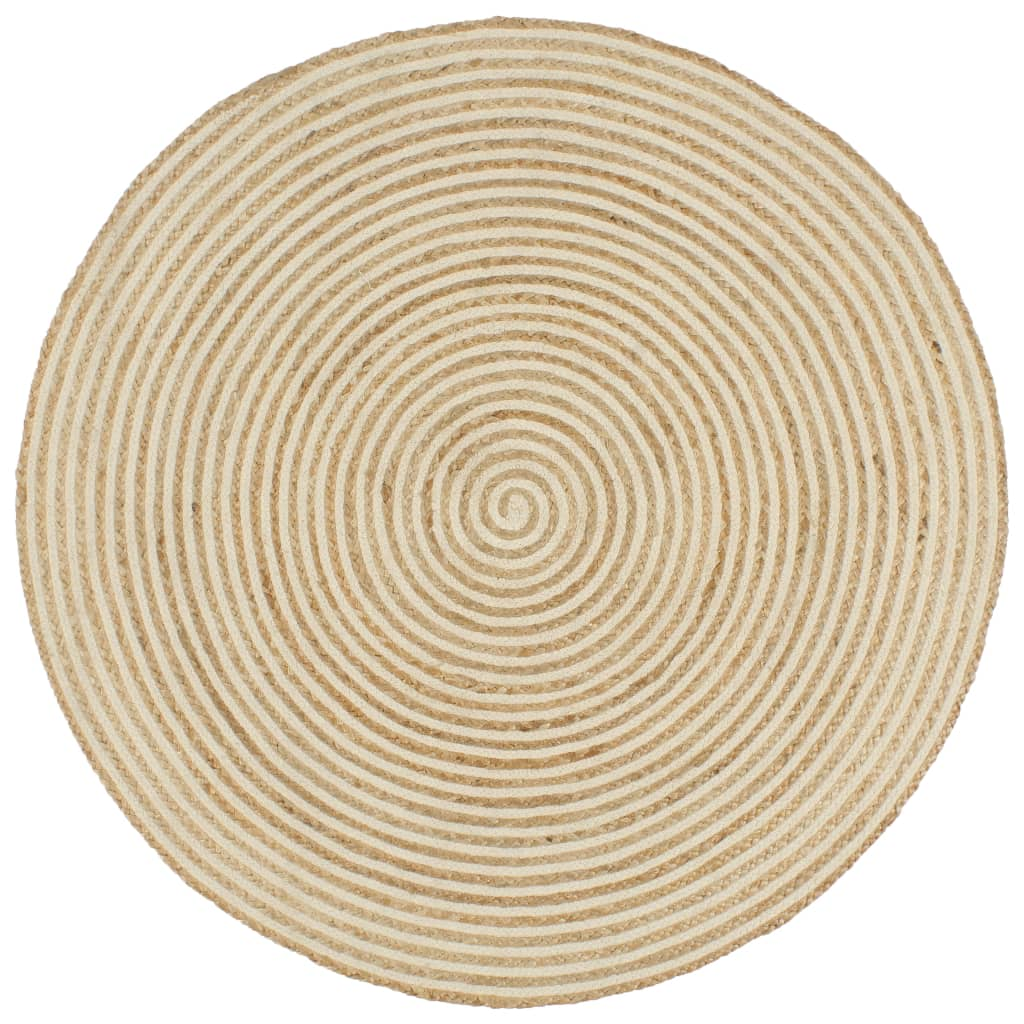 vidaXL Χαλί Χειροποίητο 150 εκ. από Γιούτα με Λευκό Σπιράλ Σχέδιο