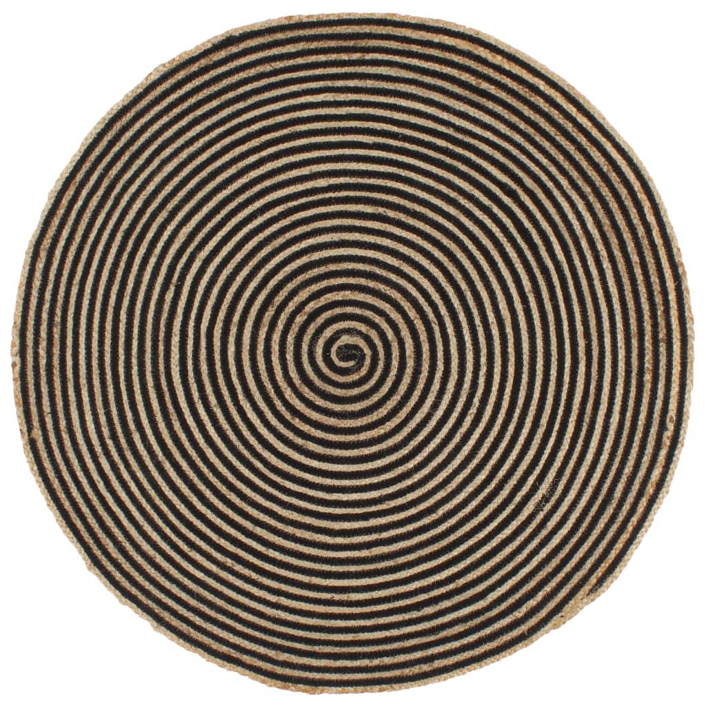 999133720 Teppich Handgefertigt Jute mit schwarzem Spiraldruck 120 cm