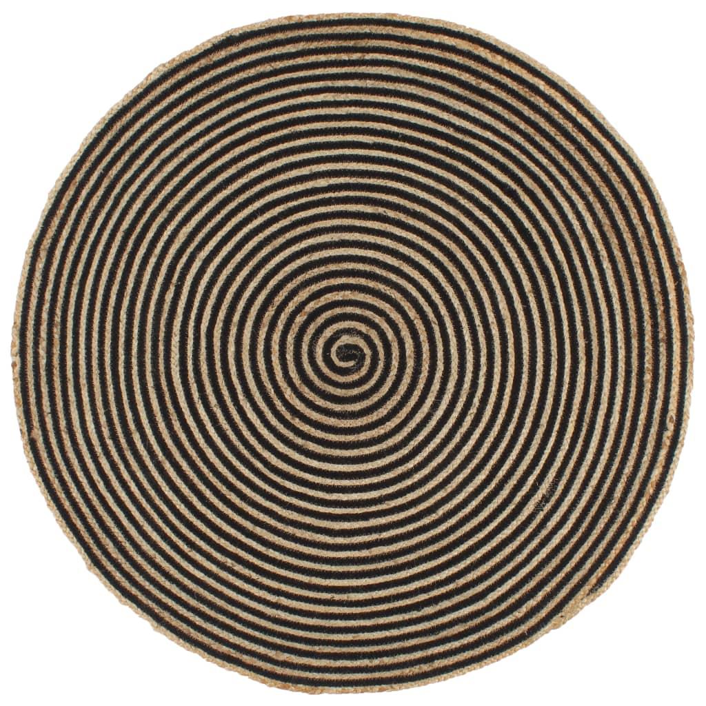 vidaXL Χαλί Χειροποίητο 150 εκ. από Γιούτα με Μαύρο Σπιράλ Σχέδιο
