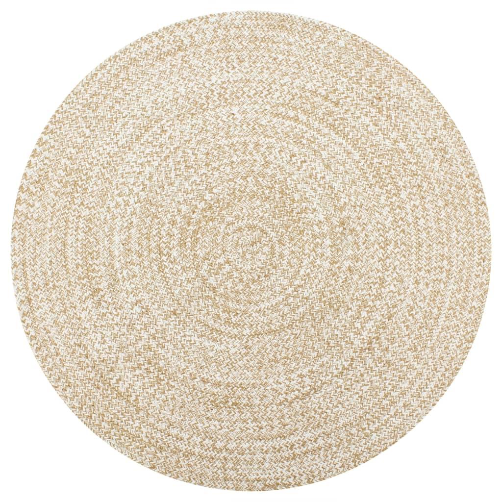 999133722 Teppich Handgefertigt Jute Weiß und Natur 90 cm