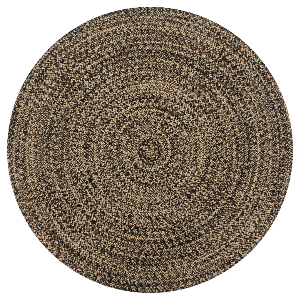 999133725 Teppich Handgefertigt Jute Schwarz und Natur 90 cm