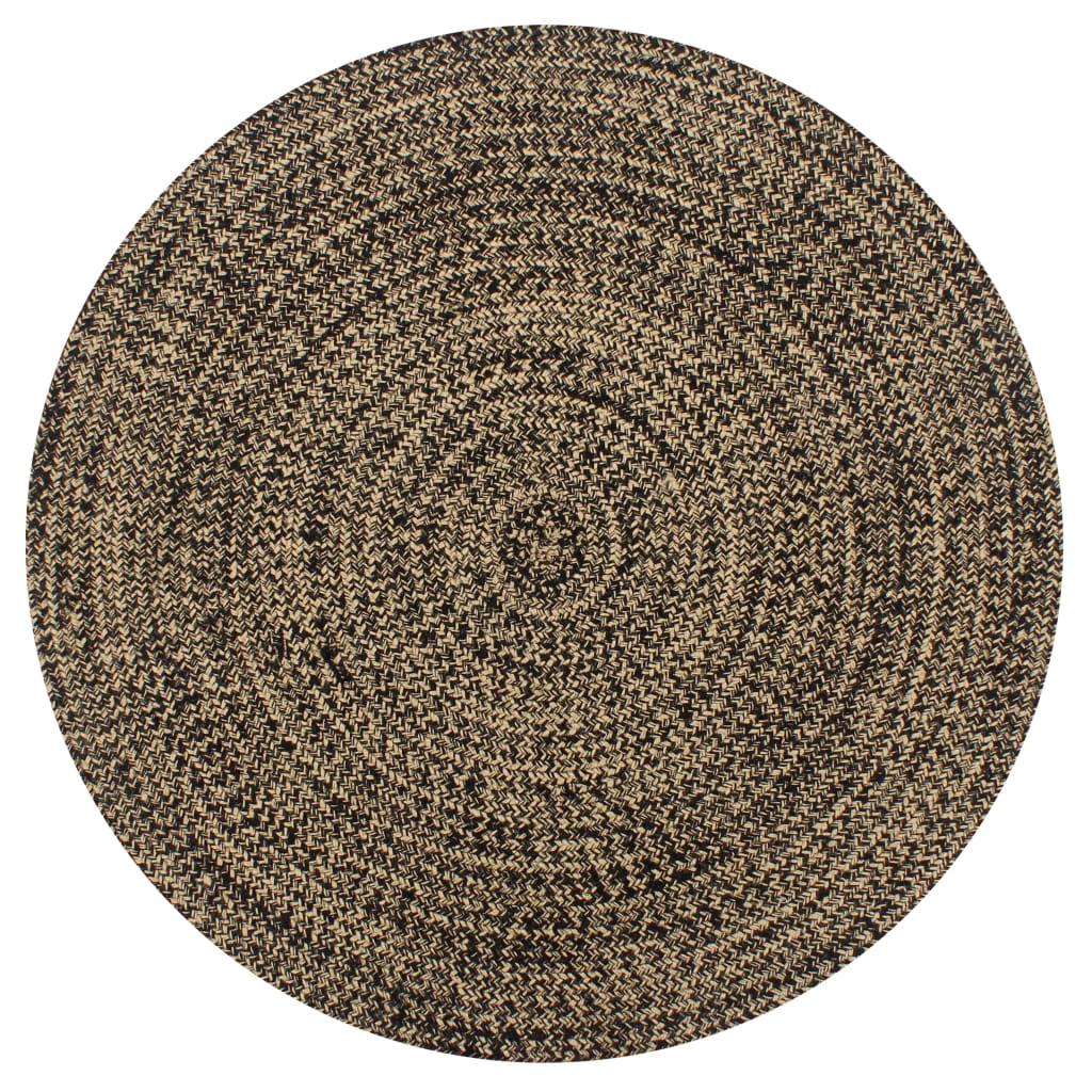 999133726 Teppich Handgefertigt Jute Schwarz und Natur 120 cm