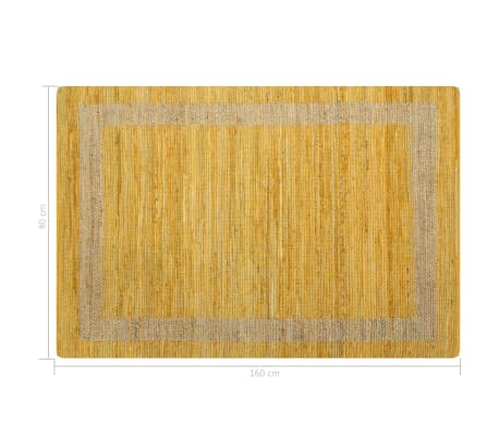 vidaXL Covor manual, galben, 80 x 160 cm, iută[6/6]