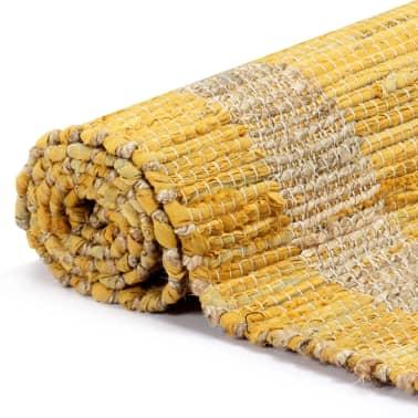 vidaXL Covor manual, galben, 80 x 160 cm, iută[3/6]