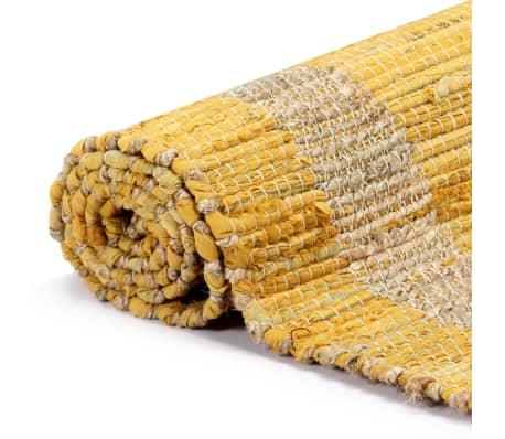 vidaXL Covor manual, galben, 160 x 230 cm, iută[3/6]