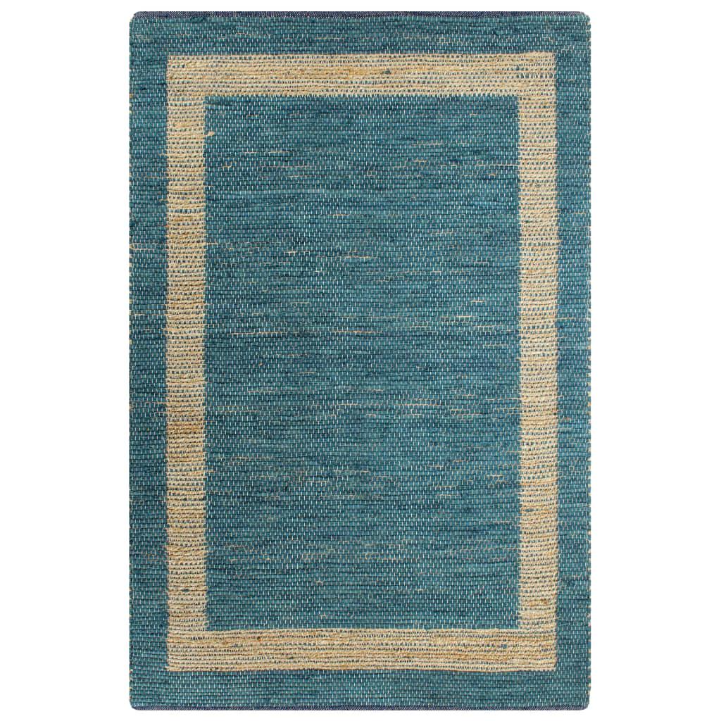 999133734 Teppich Handgefertigt Jute Blau 80x160 cm