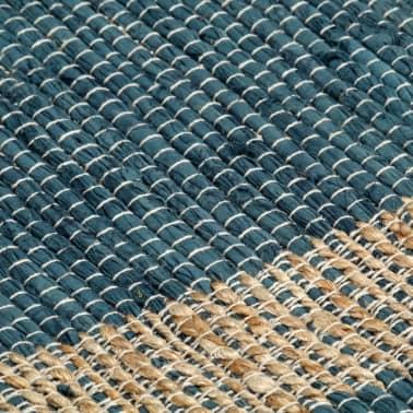 vidaXL Preproga iz jute ročno izdelana modra 80x160 cm[5/6]