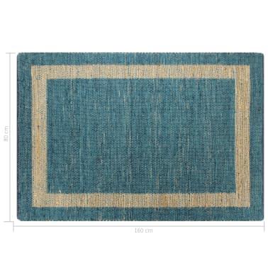 vidaXL Preproga iz jute ročno izdelana modra 80x160 cm[6/6]