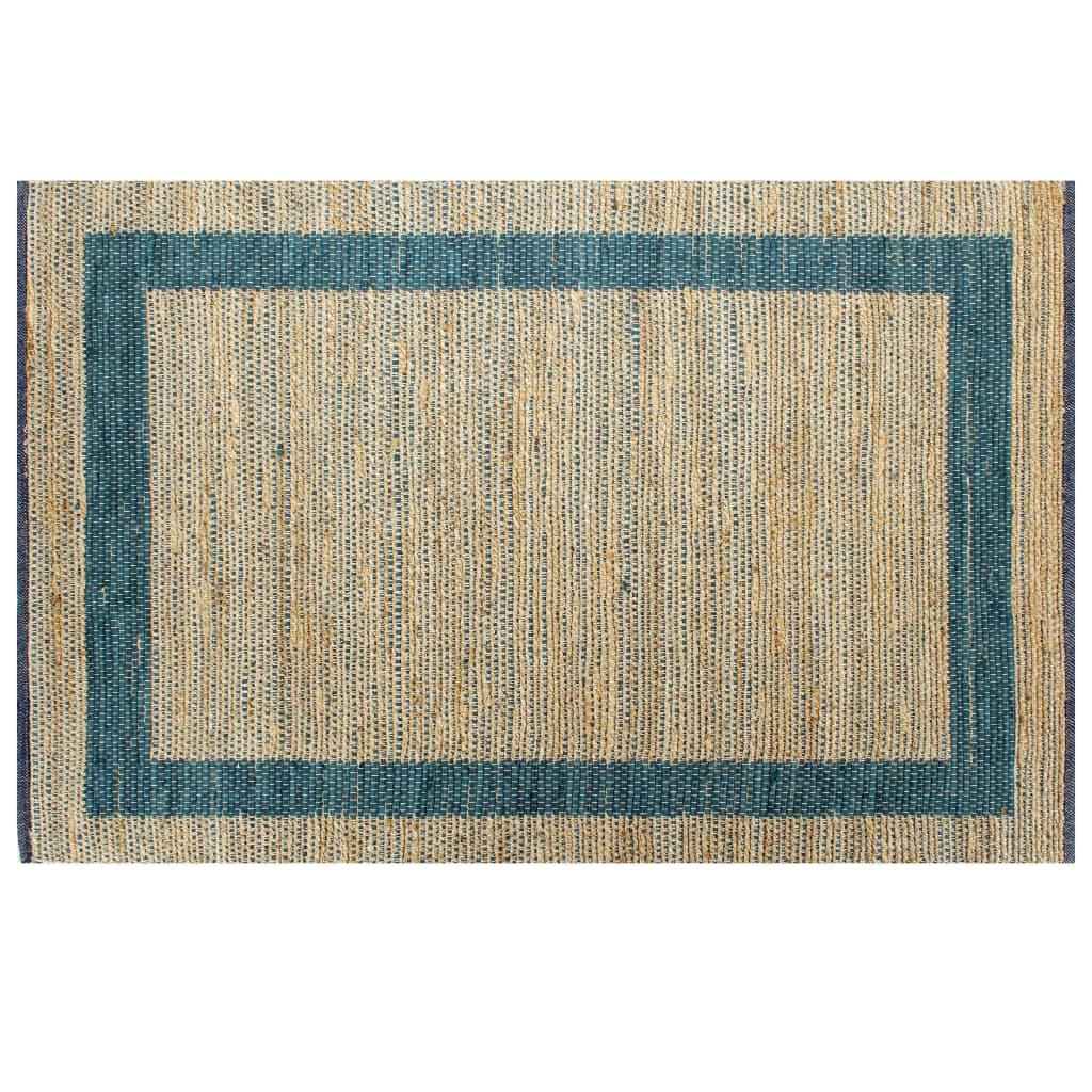 vidaXL Ručně vyráběný koberec juta modrý 120 x 180 cm