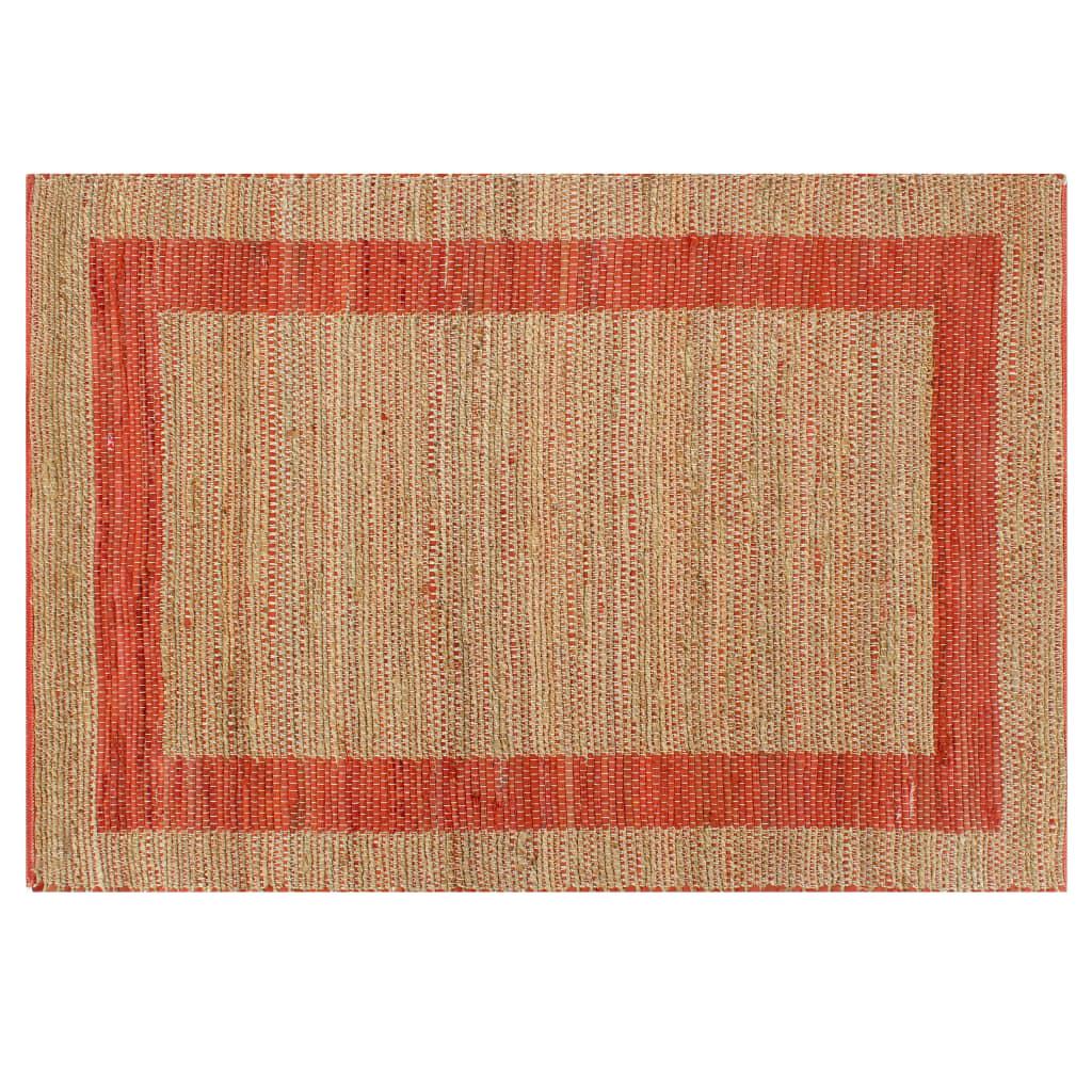 vidaXL Ručně vyráběný koberec juta červený 80 x 160 cm