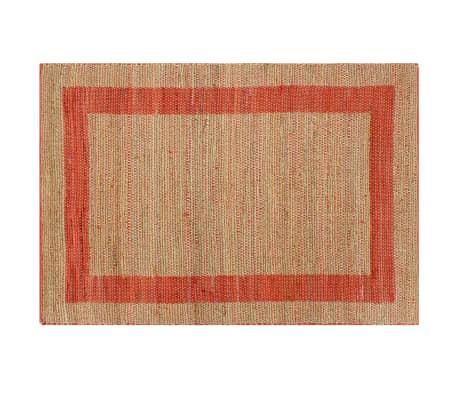 vidaXL Covor manual, roșu, 80 x 160 cm, iută[2/6]