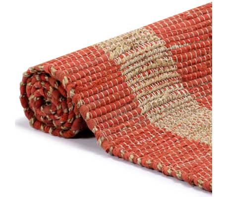 vidaXL Covor manual, roșu, 80 x 160 cm, iută[3/6]