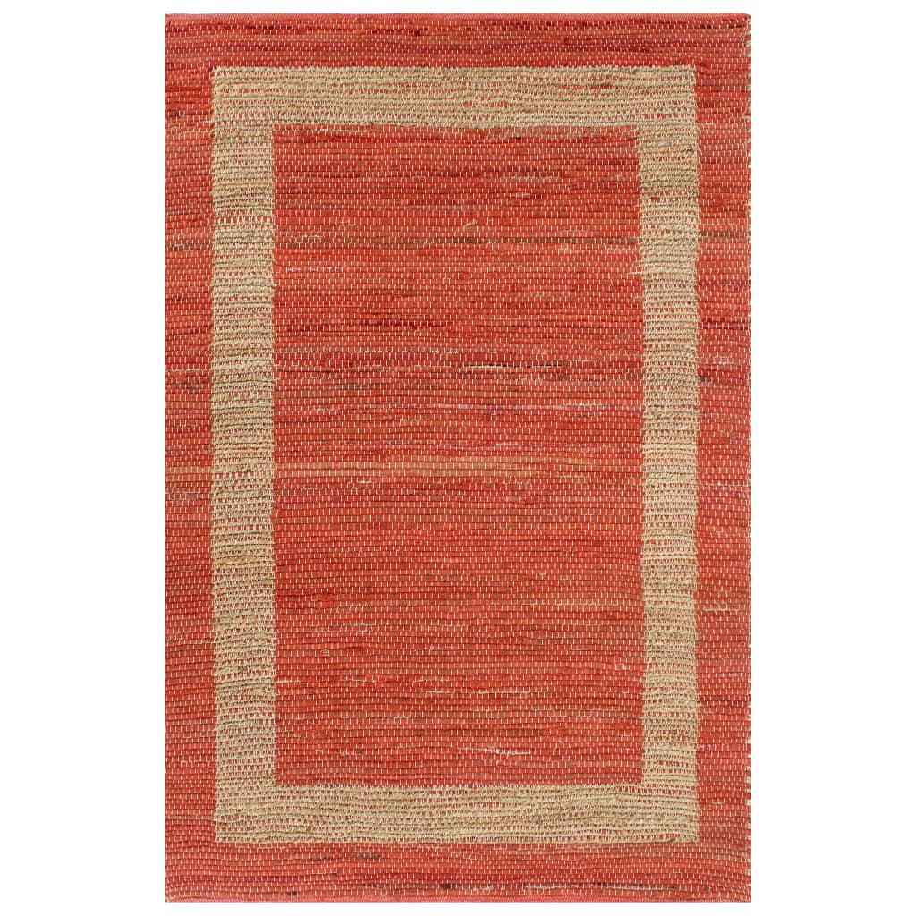 Vidaxl Tapis fait À la Main Jute Rouge 120x180 cm moquette Carpette Salon