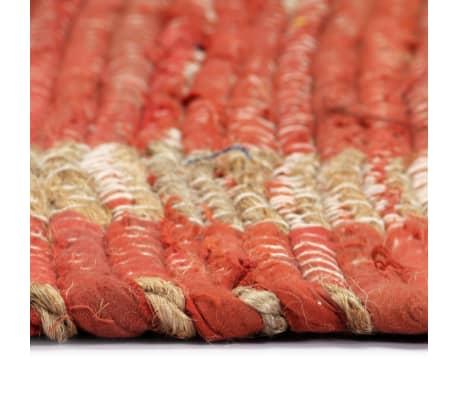 vidaXL Covor manual, roșu, 160 x 230 cm, iută[4/6]