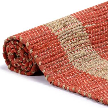 vidaXL Covor manual, roșu, 160 x 230 cm, iută[3/6]