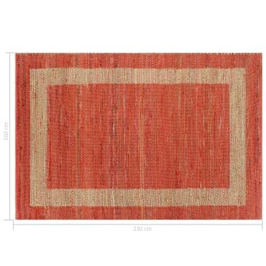 vidaXL Covor manual, roșu, 160 x 230 cm, iută[6/6]