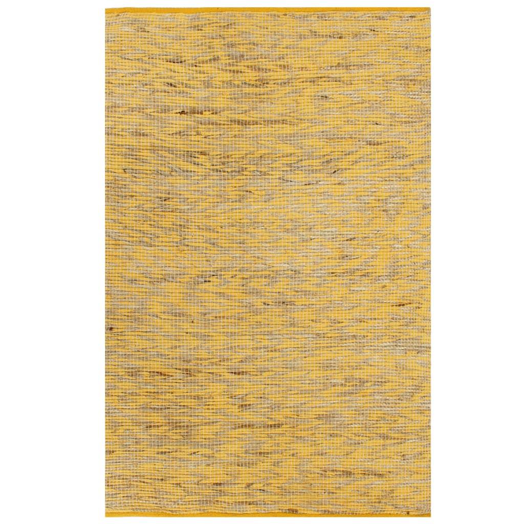 999133740 Teppich Handgefertigt Jute Gelb und Natur 80x160 cm