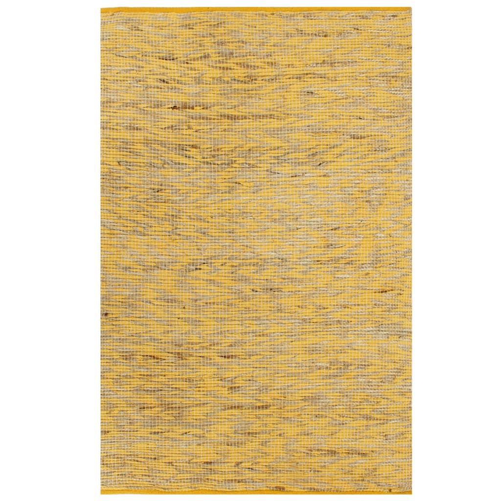 vidaXL Covor manual, galben și natural, 120 x 180 cm, iută poza 2021 vidaXL
