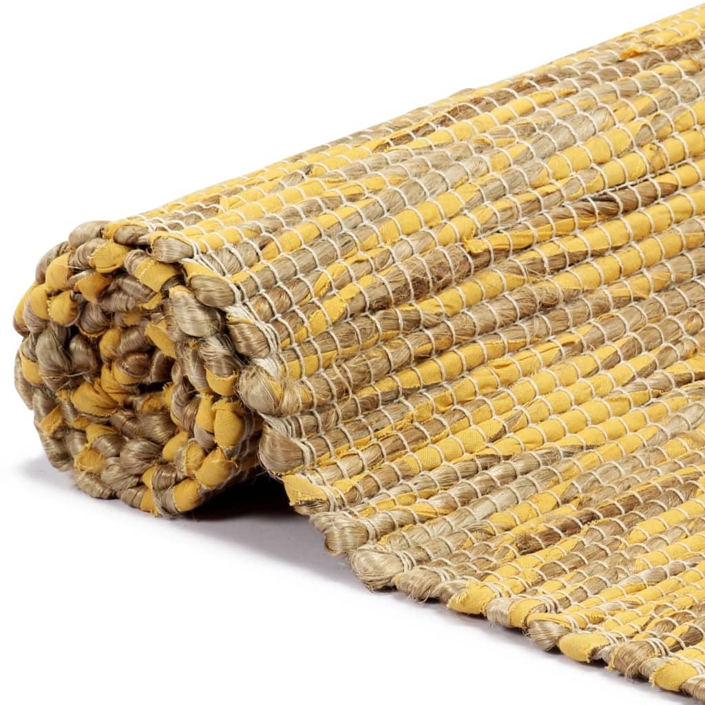 vidaXL Ručně vyráběný koberec juta žlutý a přírodní 120 x 180 cm