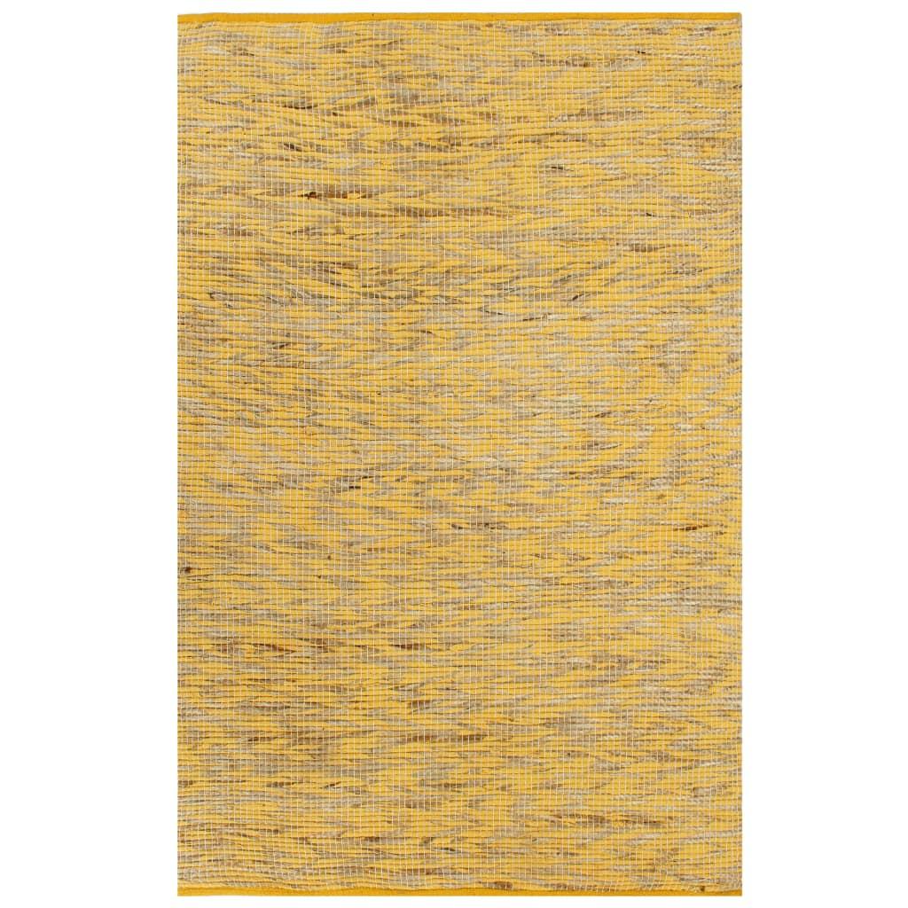 999133742 Teppich Handgefertigt Jute Gelb und Natur 160x230 cm