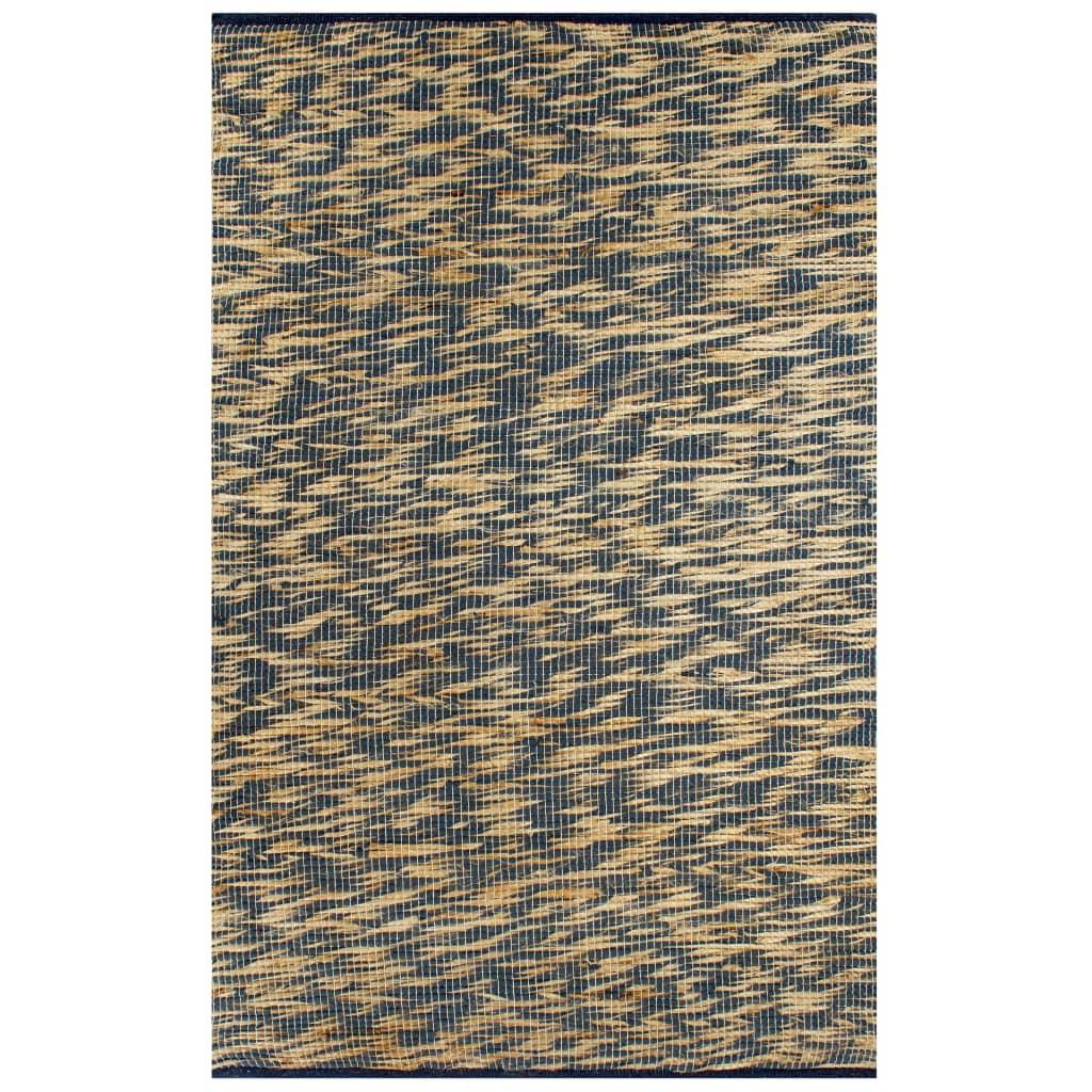 999133743 Teppich Handgefertigt Jute Blau und Natur 80x160 cm