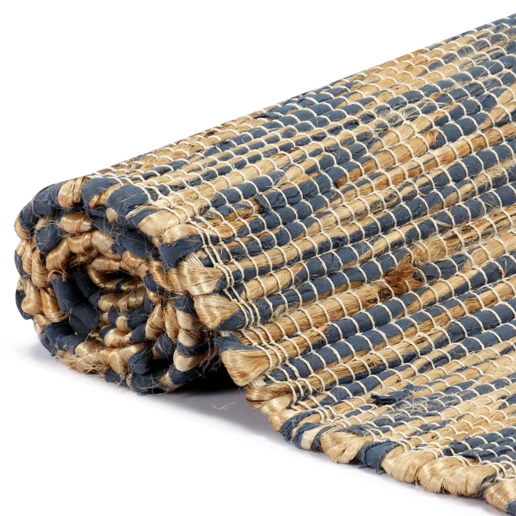 vidaXL Ručně vyráběný koberec juta modrý a přírodní 80 x 160 cm