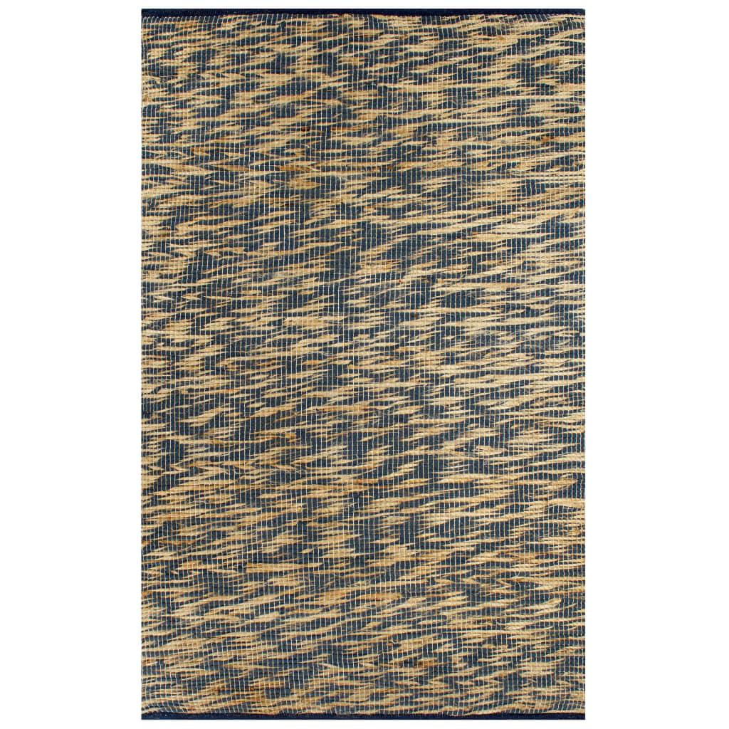 999133744 Teppich Handgefertigt Jute Blau und Natur 120x180 cm