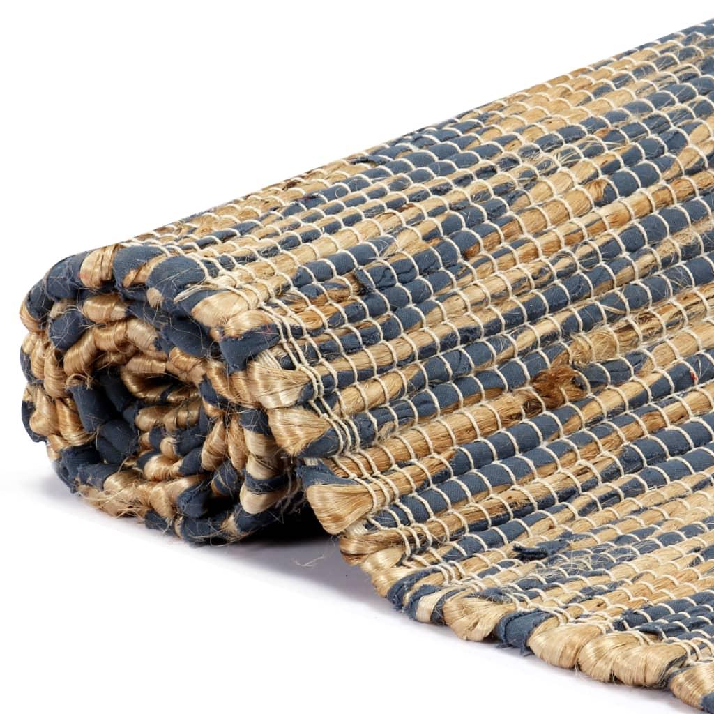 vidaXL Ručně vyráběný koberec juta modrý a přírodní 120 x 180 cm