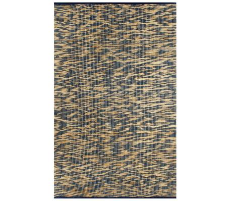 vidaXL Covor manual, albastru și natural, 160x230 cm, iută
