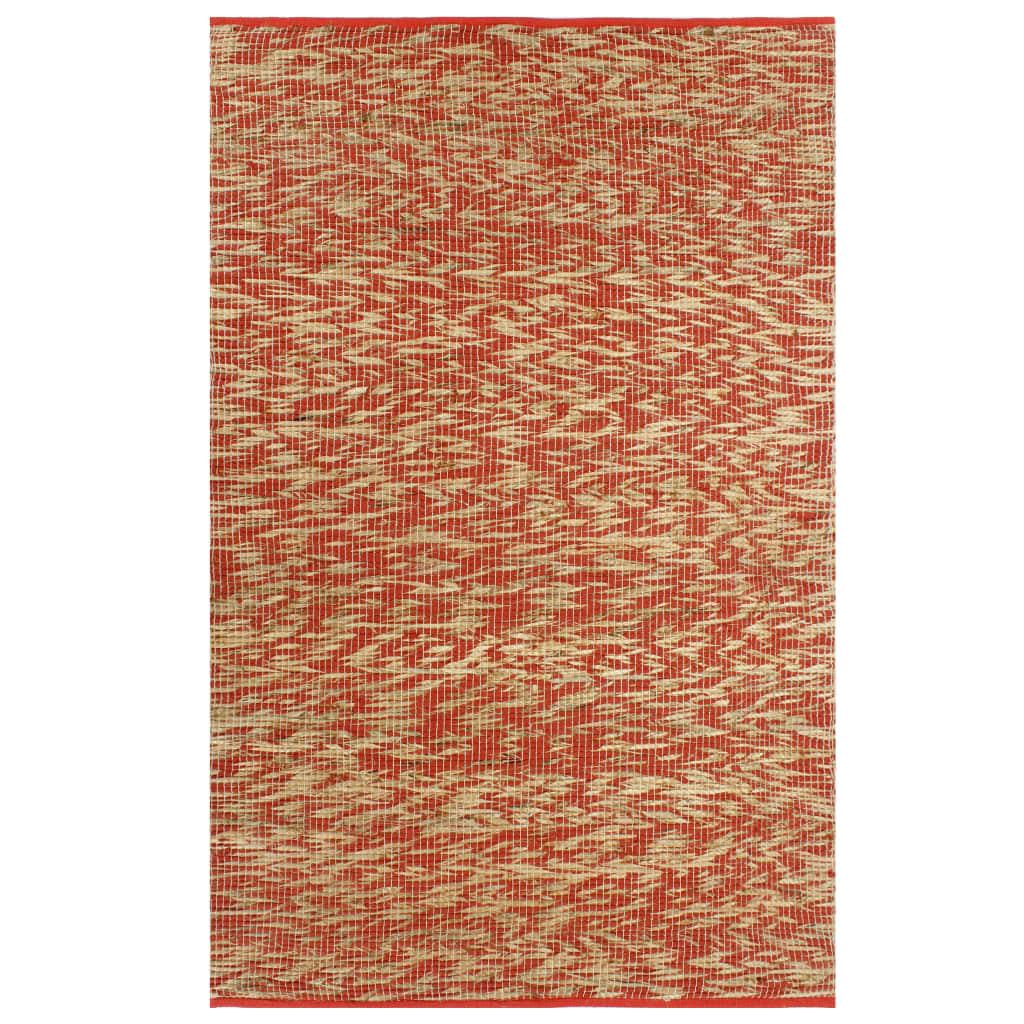 999133746 Teppich Handgefertigt Jute Rot und Natur 80x160 cm