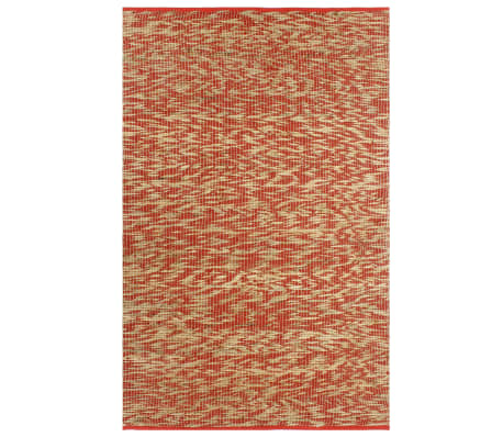 vidaXL Covor manual, roșu și natural, 80 x 160 cm, iută