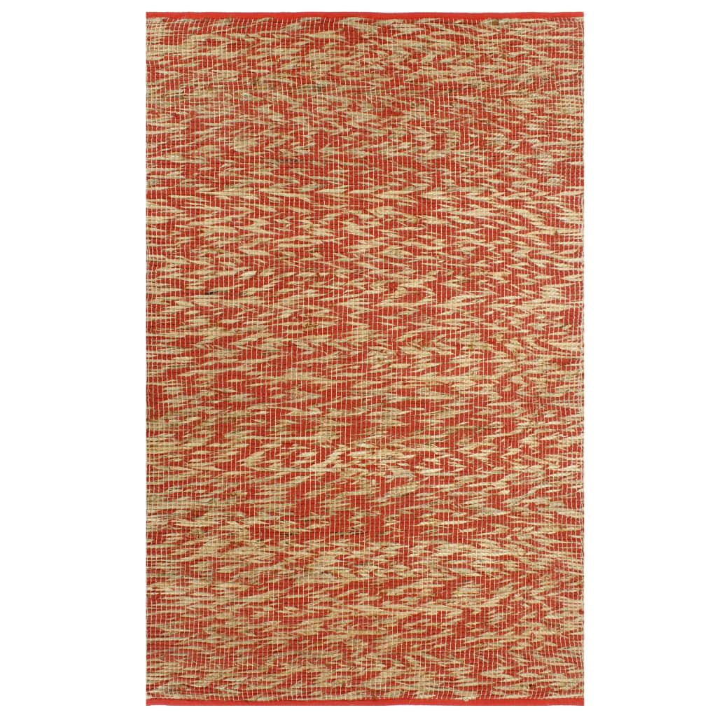 999133747 Teppich Handgefertigt Jute Rot und Natur 120x180 cm