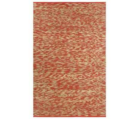 vidaXL Covor manual, roșu și natural, 120 x 180 cm, iută
