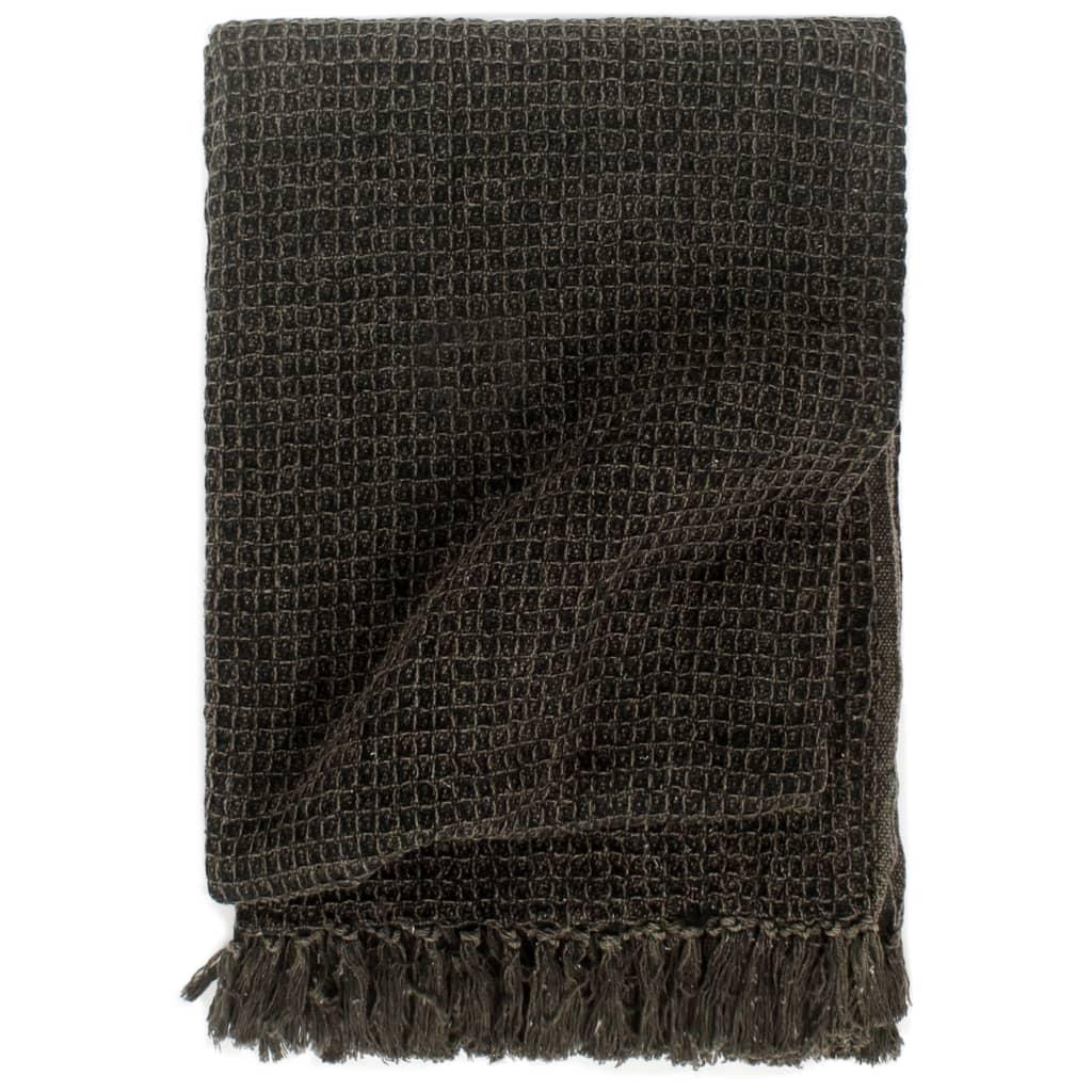 vidaXL Přehoz bavlna 160 x 210 cm antracitovo-hnědý